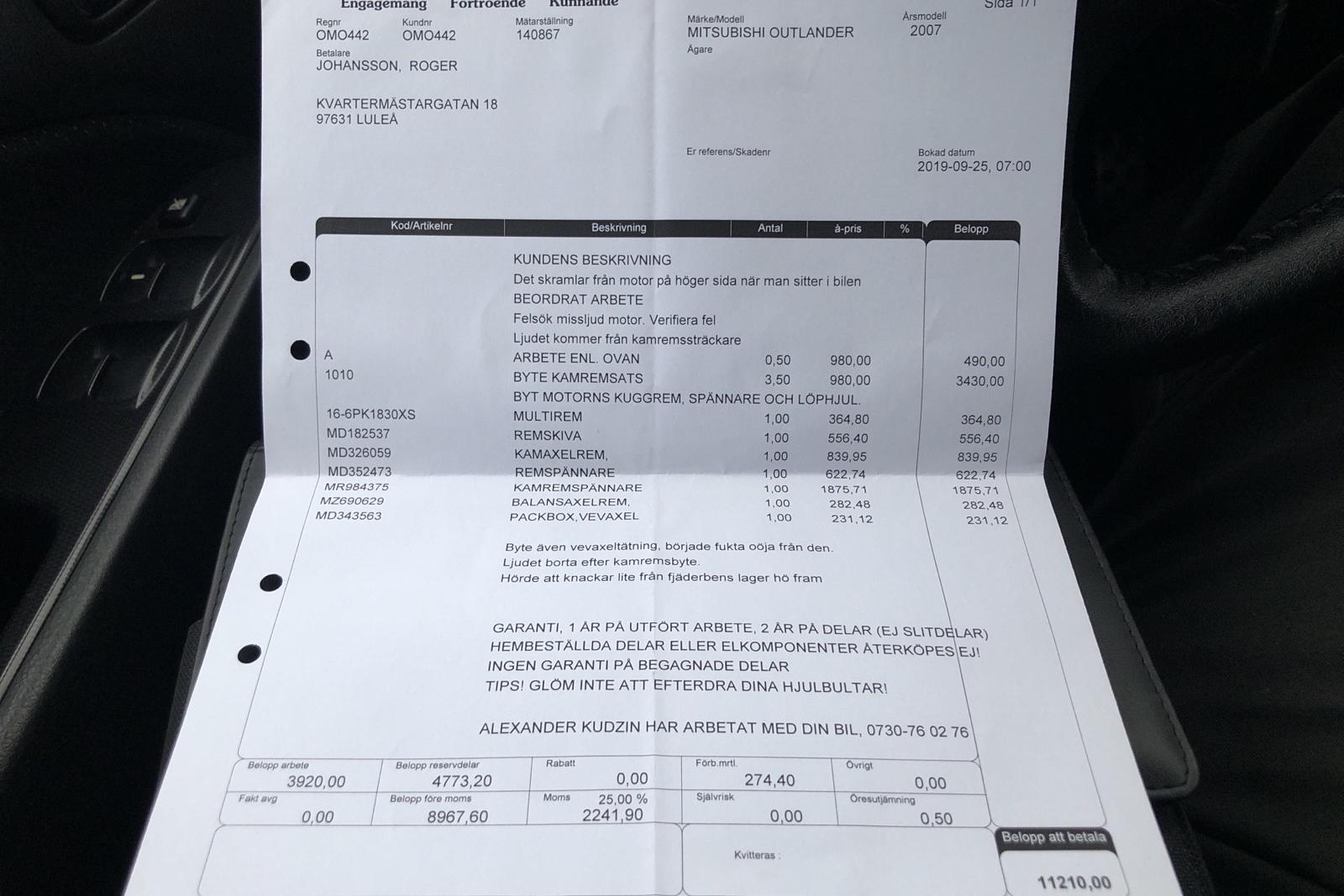 Mitsubishi Outlander 2.0 Turbo (202hk) - 145 790 km - Manual - Dark Grey - 2007