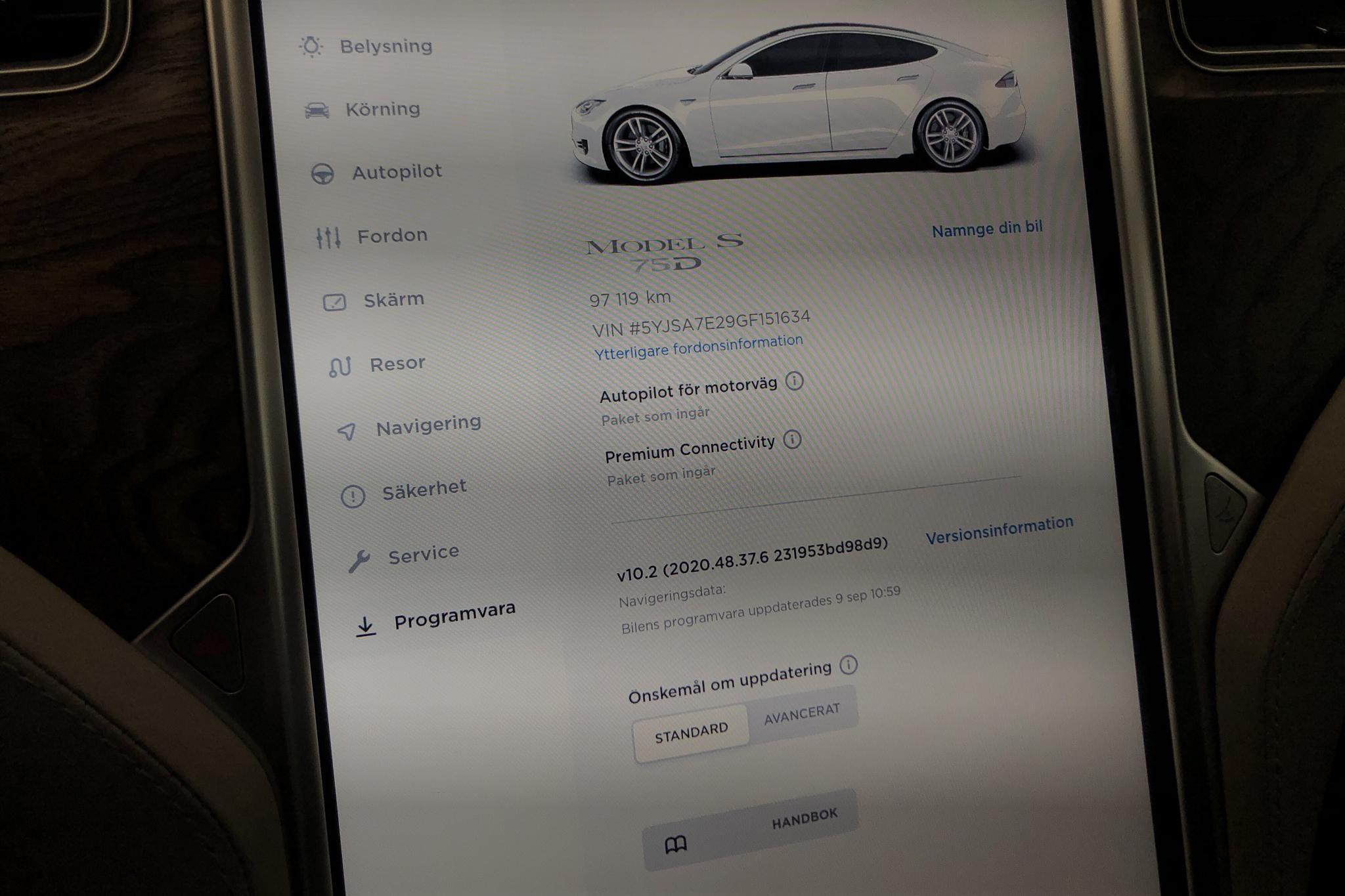 Tesla Model S 75D (525hk) - 9 711 mil - Automat - vit - 2016